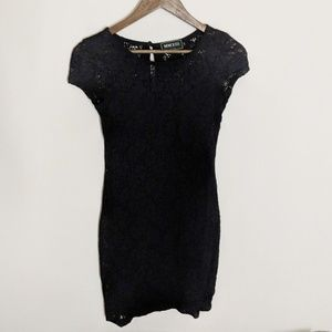 Black Lace Cap Sleeve Fitted Dress Small